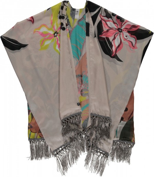 Airy summer poncho with floral print