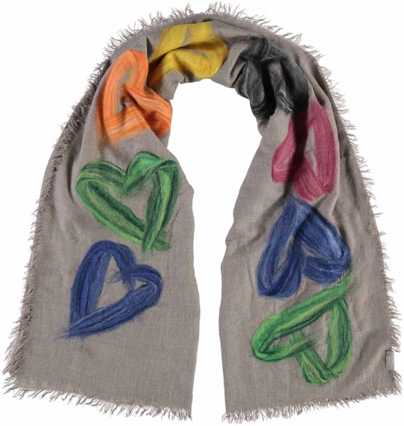 Stole with heart design in a modal blend – Made in Italy