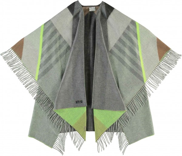 Cashmink® poncho with fringes - Made in Germany