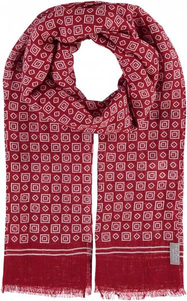 Schal mit Grafik-Print in Leinenmischung , Made in Italy