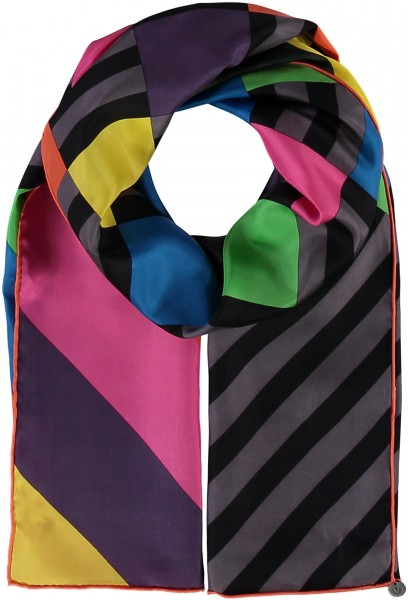 Pure silk scarf with graphic print