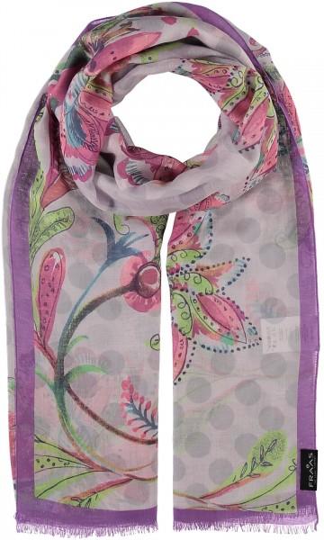 Schal mit Floral-Punkte-Print aus reiner Viskose , Made in Italy