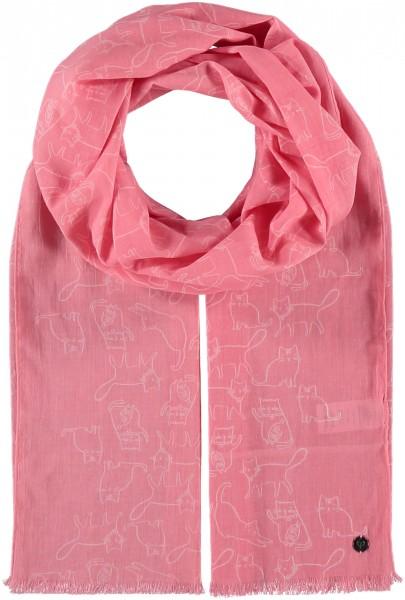 Baumwoll-Schal mit Katzen-Print