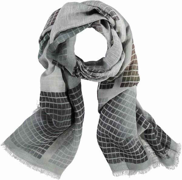 Schal mit Grafik-Print in Leinenmischung - Made in Italy