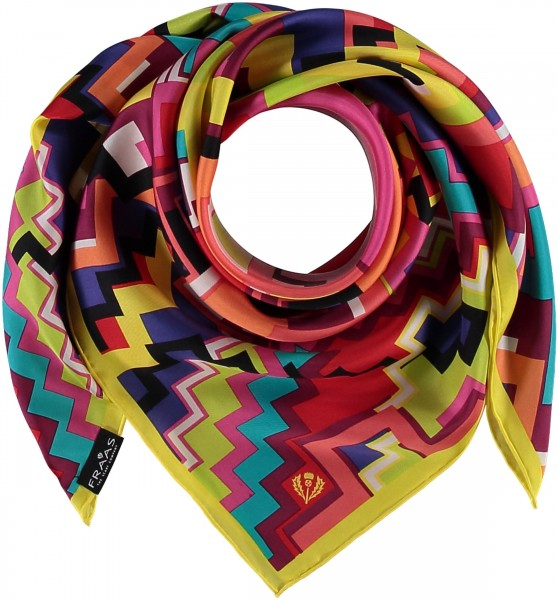 Square with graphic print in pure silk