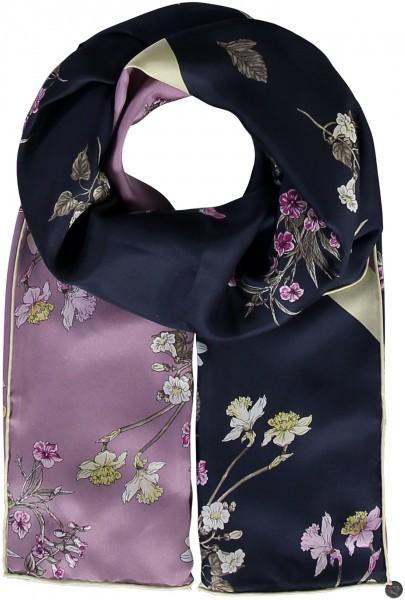 Schal mit Blumen-Druck aus reiner Seide
