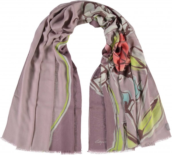 Stola mit Floral-Print in Modalmischung , Made in Italy