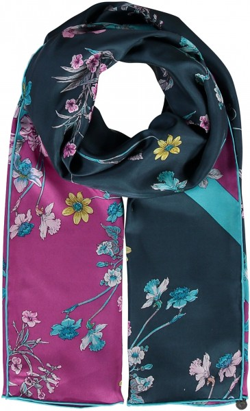 Pure silk scarf with flower print