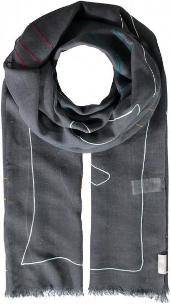 Stola aus reiner Wolle mit Grafik-Design
