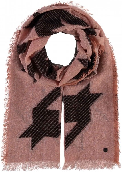 Wool-blend stola with houndstooth design