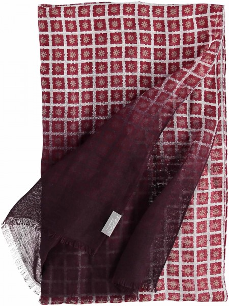 Schal mit Karo-Print in Leinenmischung , Made in Italy